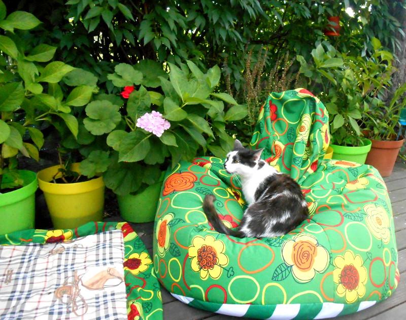 Ogrodowy fotel sako i posłanie dla domowych zwierzaków